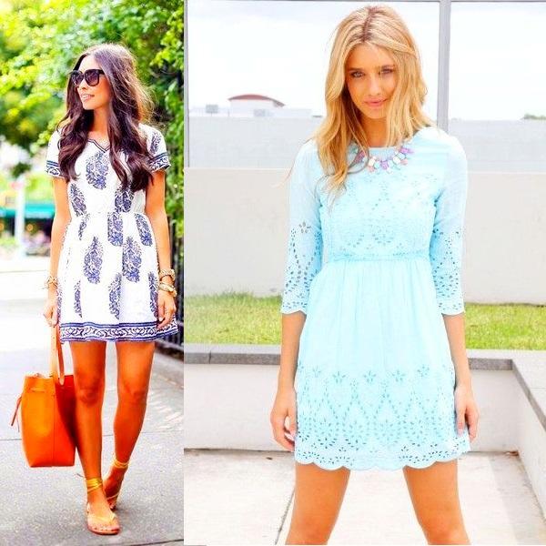 На фото красивые весенние платья