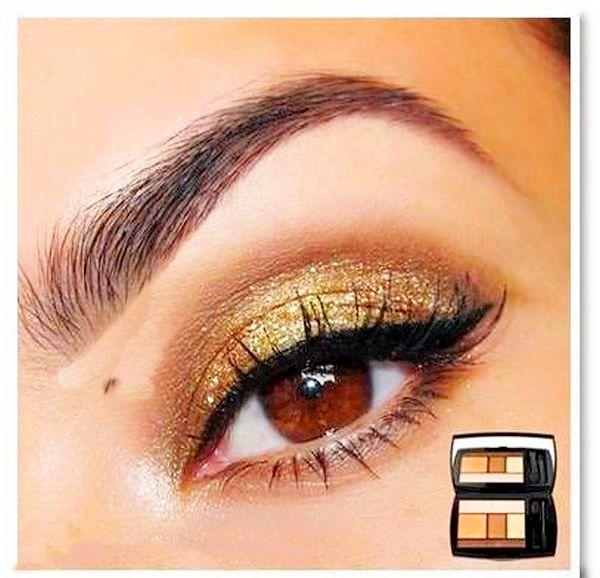 На фото осенний макияж для карих глаз