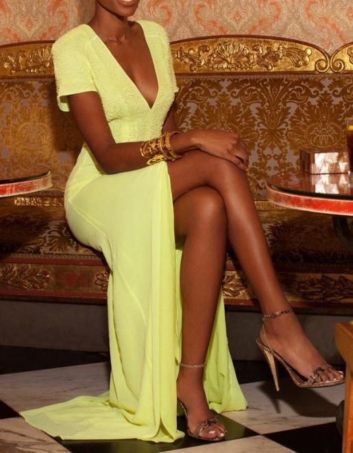 желтое платье в пол фото