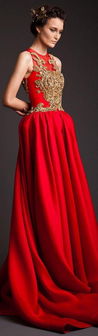 красное платье в пол с вышивкой