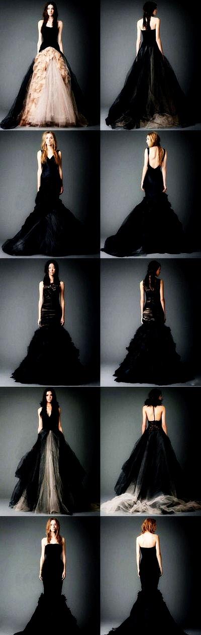 На фото модные черные свадебные платья от Вики Вонг